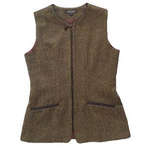 Vintage Harold's Tweed Vest Wool Leather Trim S